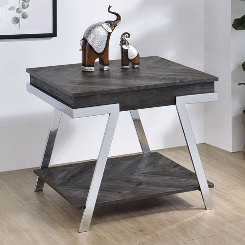 Roma Dark Grey and Chrome End Table