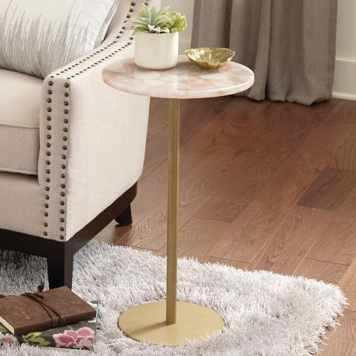 Rosie Rose and Brass Round Chairside Table