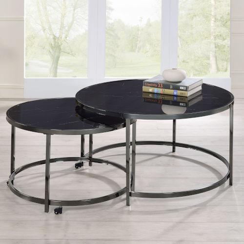 Rayne Black and Chrome Cocktail Table, Set of 2