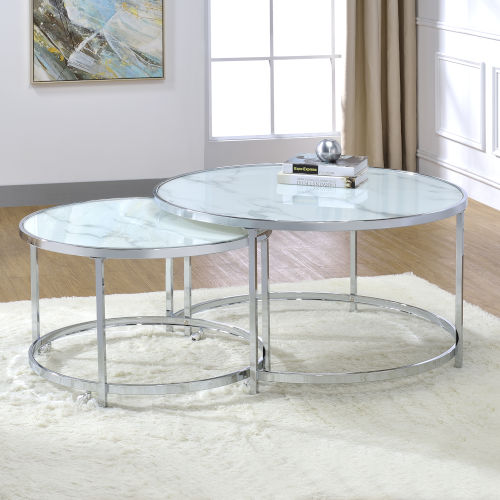 Rayne White And Chrome 36-Inch Nesting Cocktail Tables