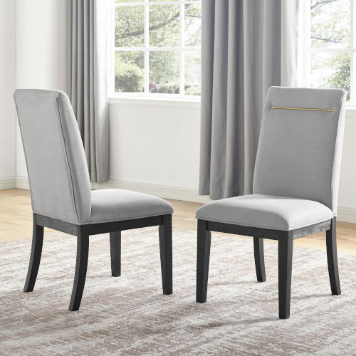 Yves Rubbed Charcoal and Gray Side Chair, Set of 2