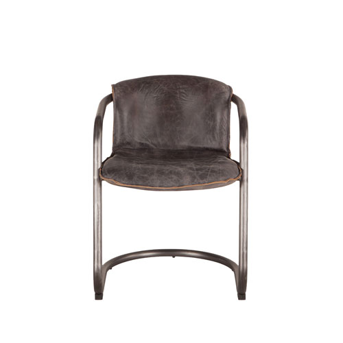 World Interiors Set of Two Distressed Antique Ebony Leather Dining Chairs