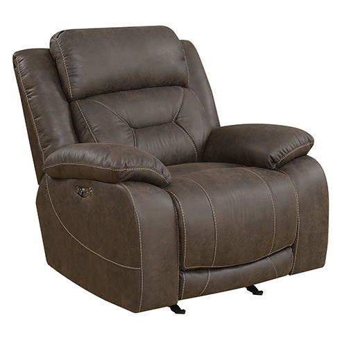 Aria Saddle Brown Power Recliner with Power Head Rest