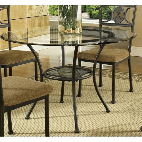 Steve Silver Company Carolyn 45 Inch Round Table W Beveled Gl Top And Black Base