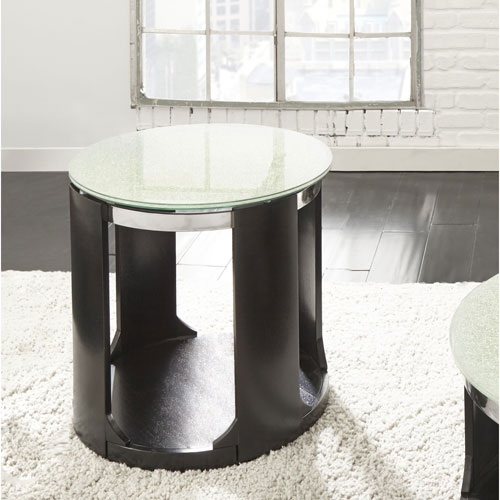 Croften Cracked Glass Round End Table