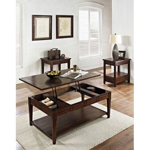 Steve Silver Company Crestline Chair Side End Table in Distressed Walnut
