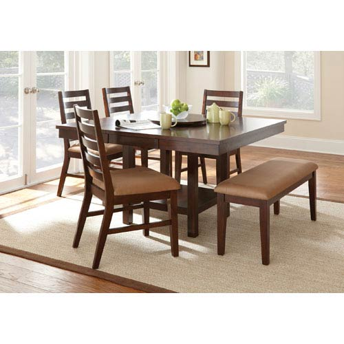 Eden Dining Table with 18-Inch Lazy Susan and 16-Inch Leaf in Dark Cherry