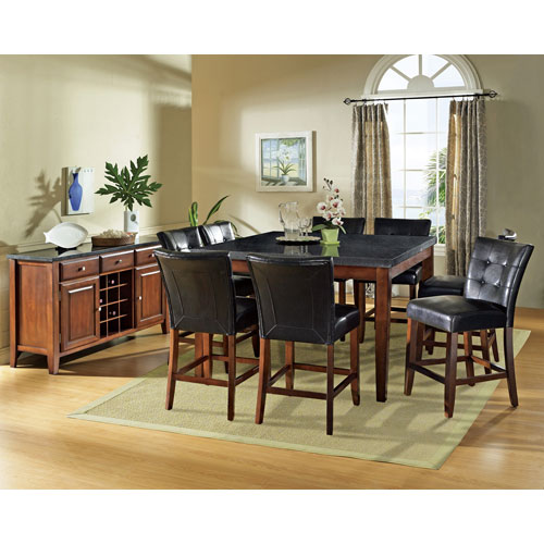 Steve Silver Company Greco Black Metal and Cherry Wood Dining Table Base