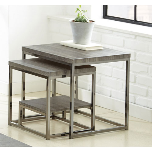 Lucia 2 Piece Nesting Table w/Nickel