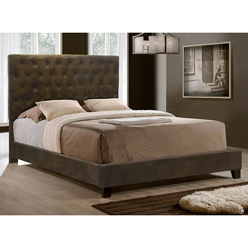 Sophia Brown Upholstered Queen Bed
