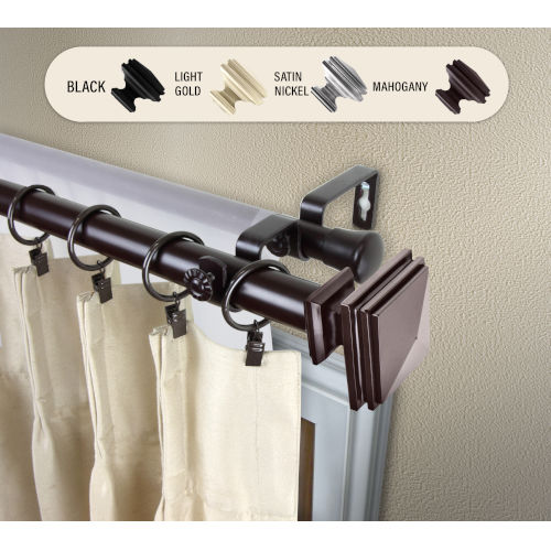 Bedpost Mahogany 28-48 Inches Double Curtain Rod
