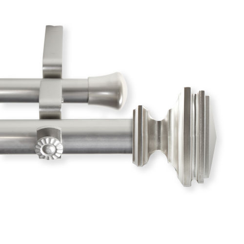 Bedpost Satin Nickel 120-170 Inches Double Curtain Rod