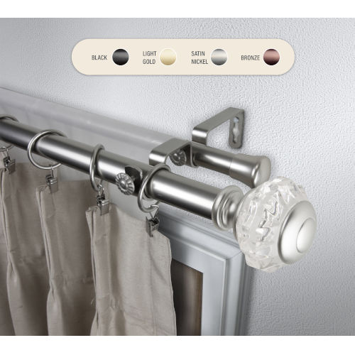 Inez Satin Nickel 48-84 Inch Double Curtain Rod