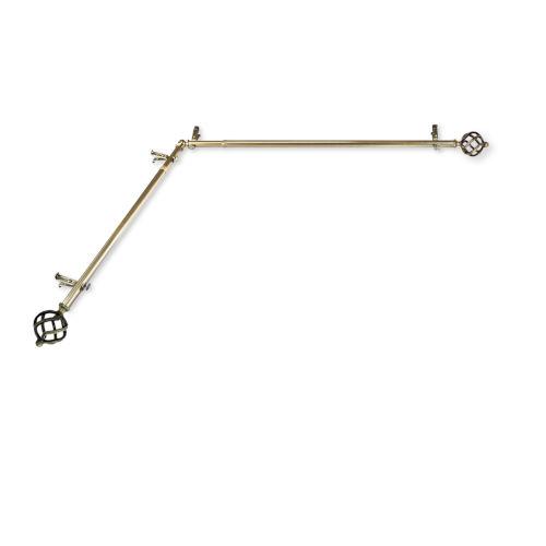 Twist Antique Brass 48-84 Inches Corner Window Curtain Rod