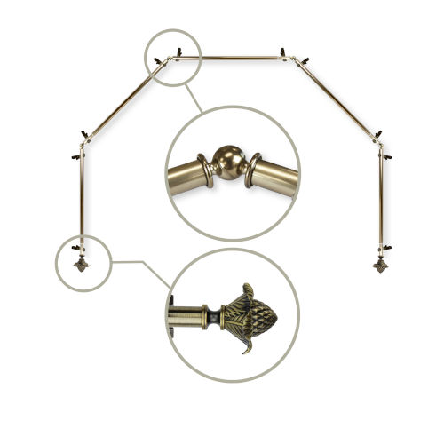 Bloom Antique Brass 240-Inch Five Sided Bay Window Curtain Rod