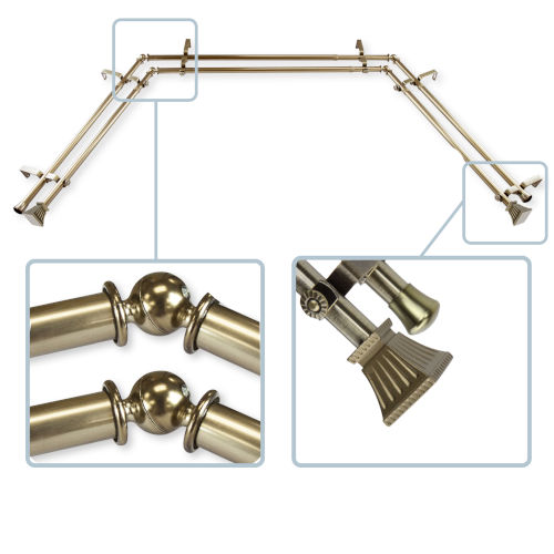 Trumpet Antique Brass 144-Inch Bay Window Double Curtain Rod