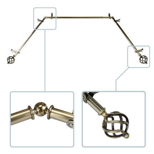 Twist Antique Brass 144-Inch Bay Window Curtain Rod
