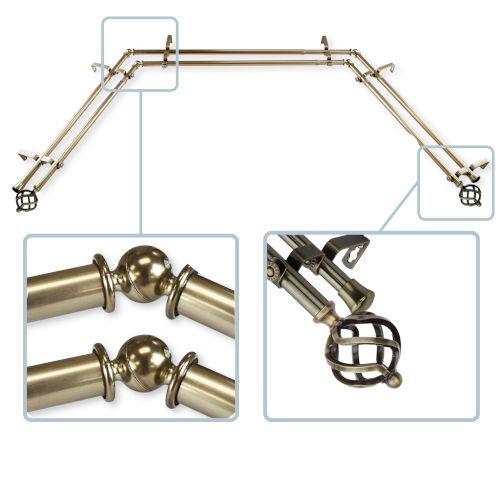 Twist Antique Brass 144-Inch Bay Window Double Curtain Rod
