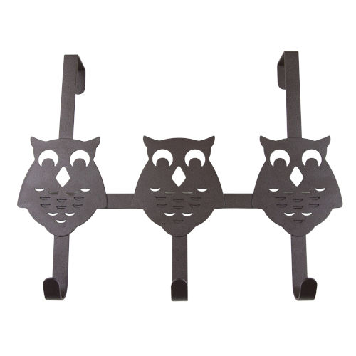 Bronze 13-Inch Over the Door Owl Organizer Three Hooks