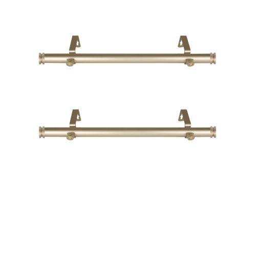Bun Light Gold 20-Inch Side Curtain Rod, Set of 2