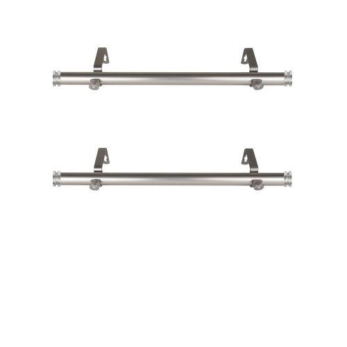 Bun Satin Nickel 20-Inch Side Curtain Rod, Set of 2