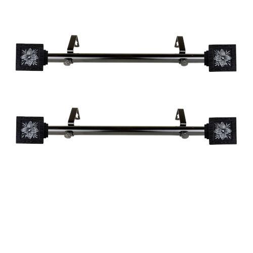 Ophelia Black 20-Inch Side Curtain Rod, Set of 2