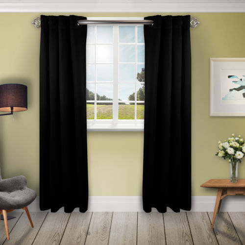 Black 180 W x 108 H In. Blackout Curtain
