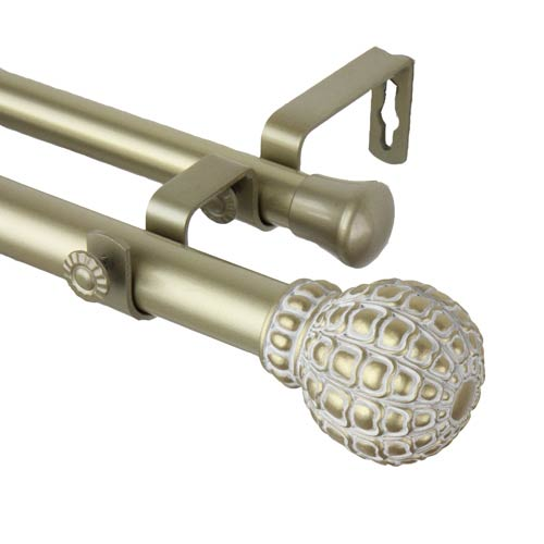 Pod Light Gold 48 to 84-Inch Double Curtain Rod