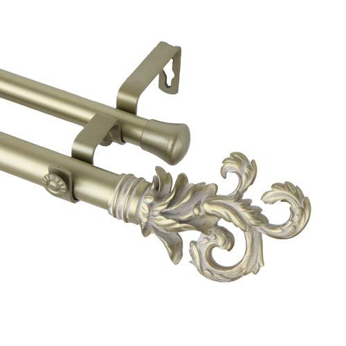 Rod Desyne Plume Light Gold 66 to 120-Inch Double Curtain Rod