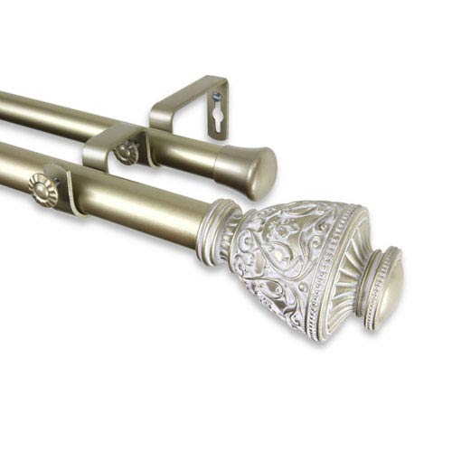 Veda Light Gold 66 to 120-Inch Double Curtain Rod