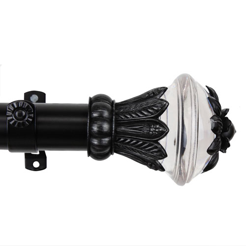 Rod Desyne Paradise Custom Cut Black 6 Ft. Drapery Rod
