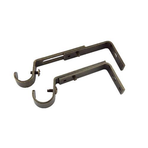 Antique Brass 3/4 Inch Rod Adjustable Brackets, Set of 2