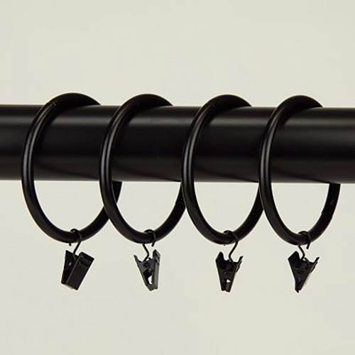 Black 2-1/2 Inch Heavy Duty Curtain Clip Rings, Set of 10
