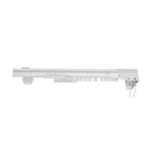 White Traverse 48 to 84 Inch Heavy Duty Single Traverse Rod One Way Cord Right