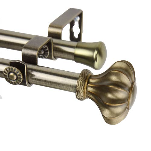 Flair Antique Brass 48 to 84-Inch Double Curtain Rod