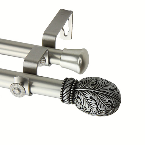 Rod Desyne Forest Satin Nickel 48 to 84-Inch Double Curtain Rod