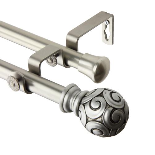 Rod Desyne Bonbon Satin Nickel 120 to 170-Inch Double Curtain Rod