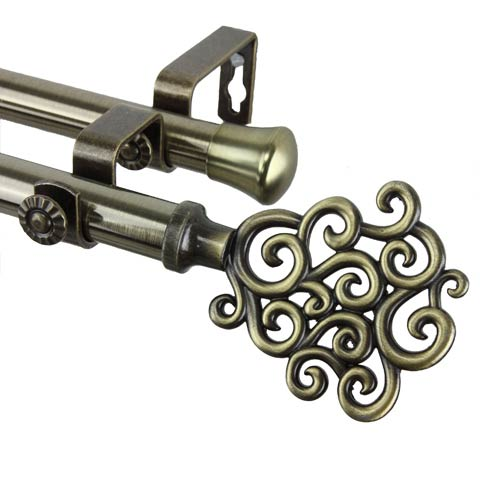 Tidal Antique Brass 48 to 84-Inch Double Curtain Rod