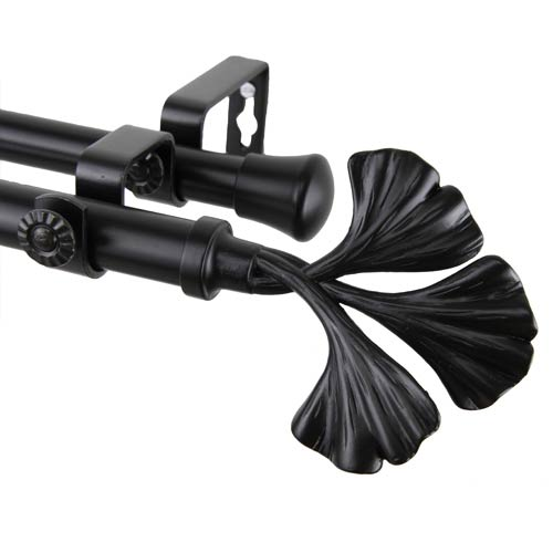Fortune Black 48 to 84-Inch Double Curtain Rod