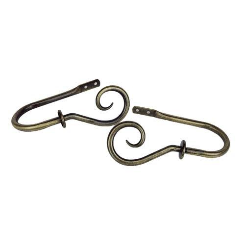 Curl Antique Brass Decorative Holdback, Set of 2