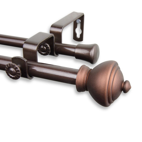 Savannah Cocoa 48 to 84-Inch Double Curtain Rod