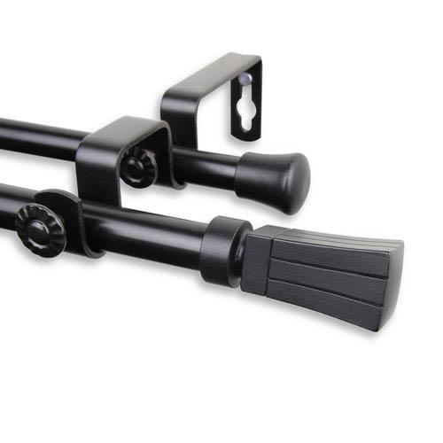 Rod Desyne Flare Black 28 to 48-Inch Double Curtain Rod