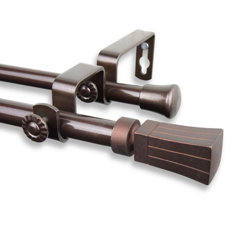 Flare Cocoa 28 to 48-Inch Double Curtain Rod