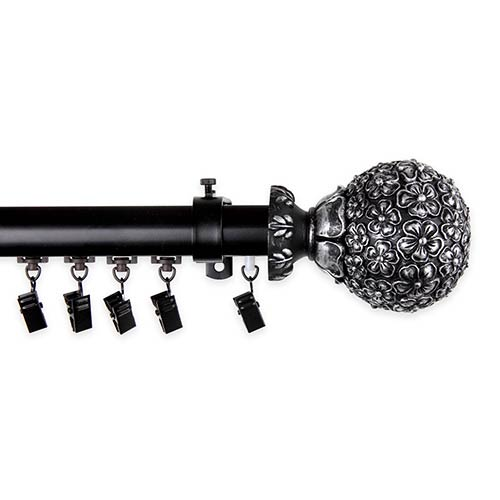 Rod Desyne Lush Black 86 to 120-Inch Decorative Traverse Rod with Sliders Lush Finial
