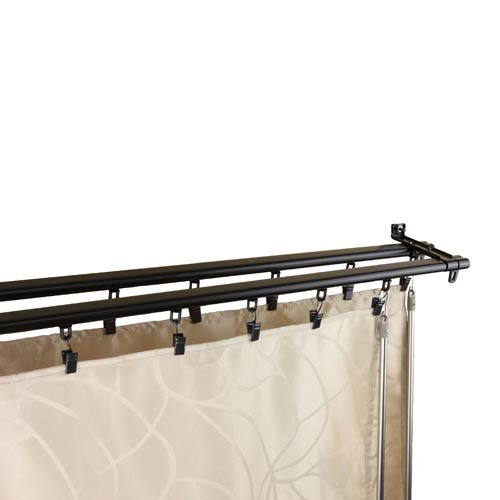 Rod Desyne Regal Black 28 to 48-Inch Double Curtain Track