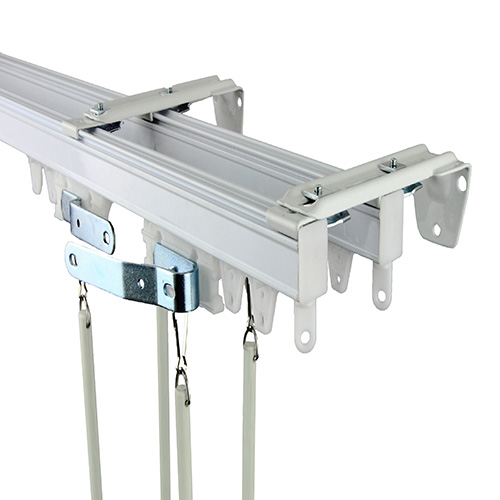 Commercial Wall/Ceiling White 192-Inch Double Curtain Track Kit