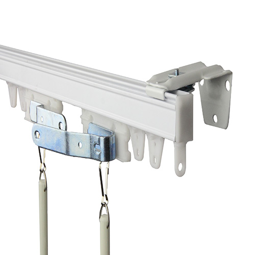 Commercial Wall/Ceiling White 72-Inch Curtain Track Kit