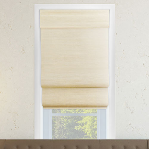 Cordless Abaca Cream 27 x 64 In. Double Layered Roman Shade