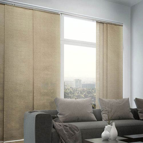 Abaca Taupe 96 x 80-Inch Cordless Sliding Panel