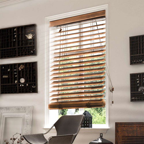 Chicology Horizontal Venetian 32-Inch x 64-Inch Simply Brown Faux Wood Blind
